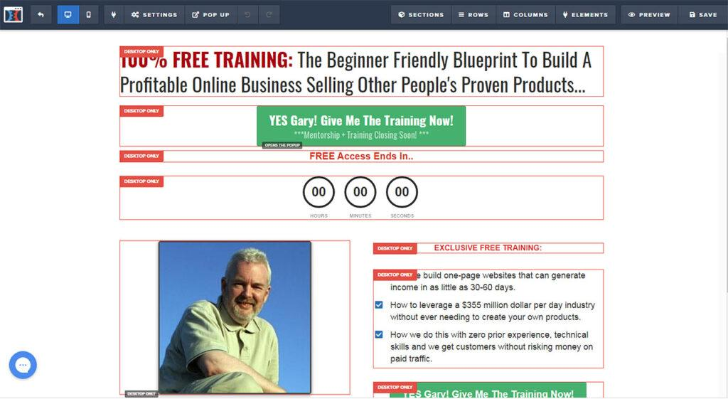 Clickfunnels® Page Editing Screen