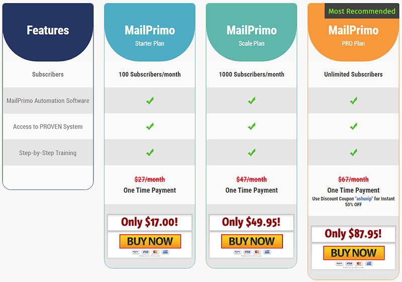 MailPrimo Pricing