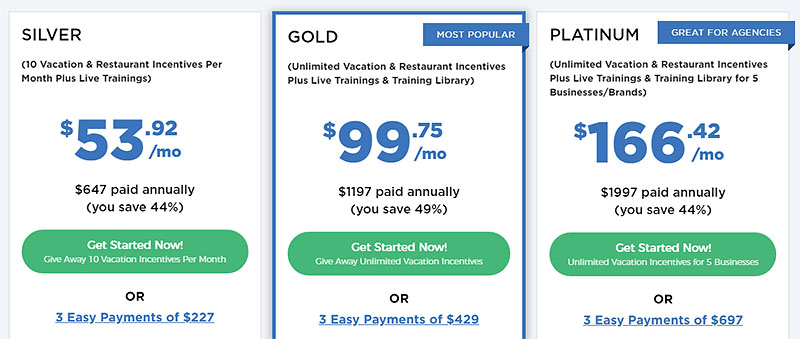 Vacation Incentives Special Offer Pricing
